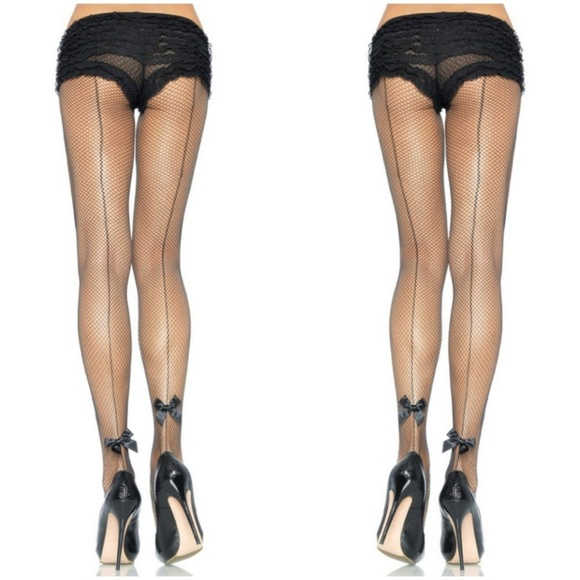 57243084b6a Backseam Fishnet Back Bow Stockings Pin Up Black